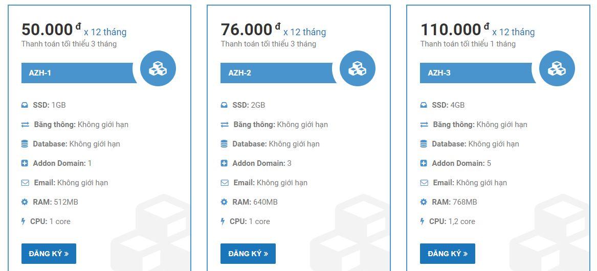 Các gói hosting giá rẻ tại AZDIGI