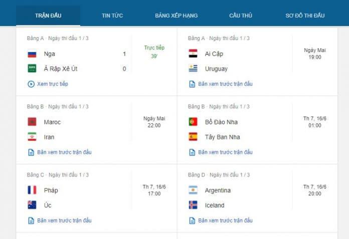 Xem lịch thi đấu, kết quả World Cup 2018