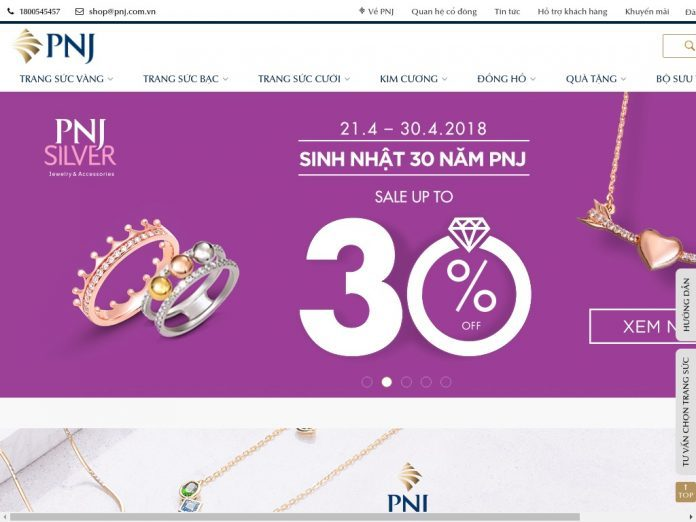 Website mua trang sức vàng bạc PNJ