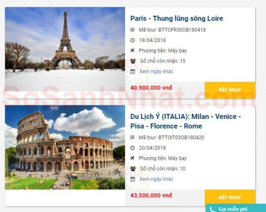 Tour du lịch Châu Âu tại Bến Thành Tourist