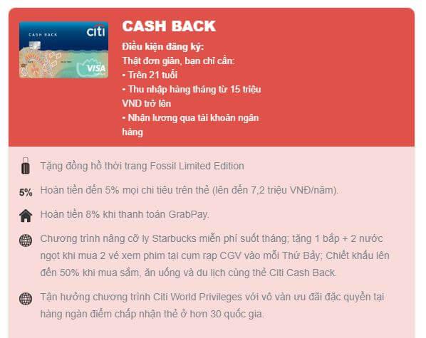 Thẻ tín dụng Citi Cash Back Tặng đồng hồ thời trang Fossil Limited Edition