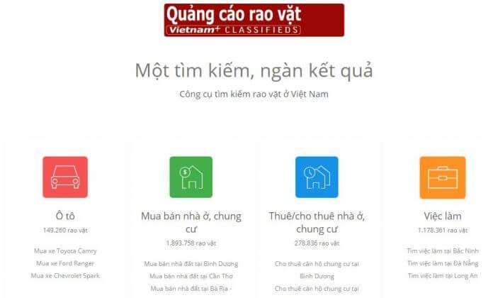 Trang tìm kiếm rao vặt ô tô, bất động sản, việc làm - Vietnamplus Rao Vặt