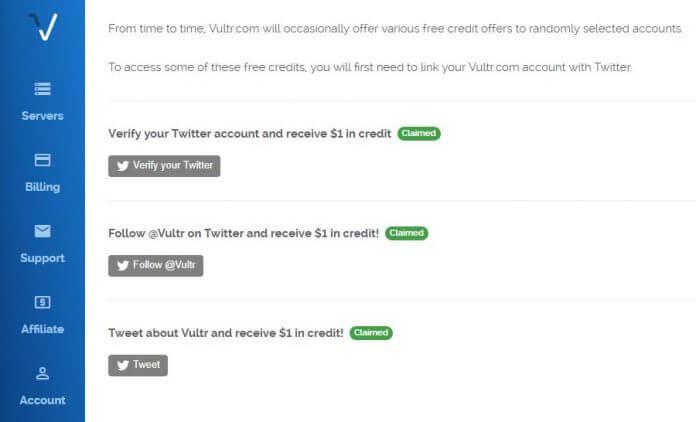 Tặng 3$ miễn phí vào tài khoản Vultr