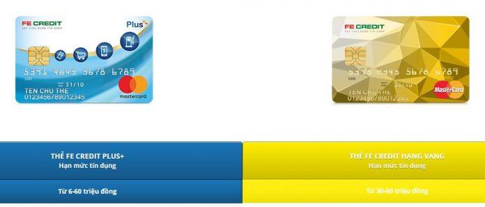 So sánh thẻ tín dụng Fe credit Plus và Vàng