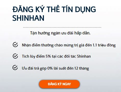 Ưu đãi mở thẻ tín dụng Shinhan