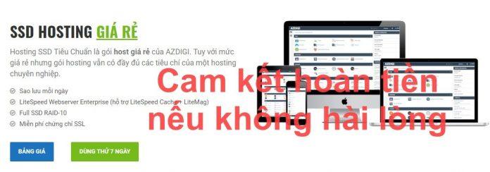 AZDIGI cam kết hoàn tiền nếu không hài lòng dịch vụ hosting