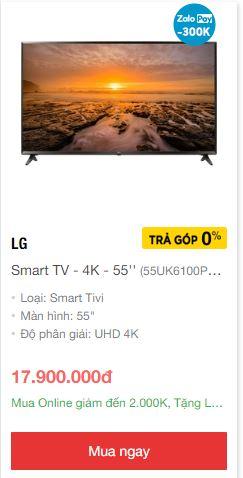 Smart tivi 55 inch 4k giá rẻ nhất