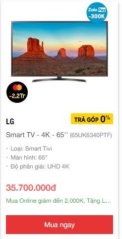 Smart tivi 65 inch 4k giá rẻ nhất