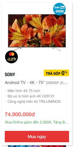 Smart tv 75 inch 4k giá rẻ nhất