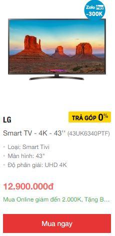 Smart tivi LG giá rẻ nhất