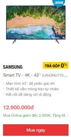 Smart tivi Samsung giá rẻ nhất