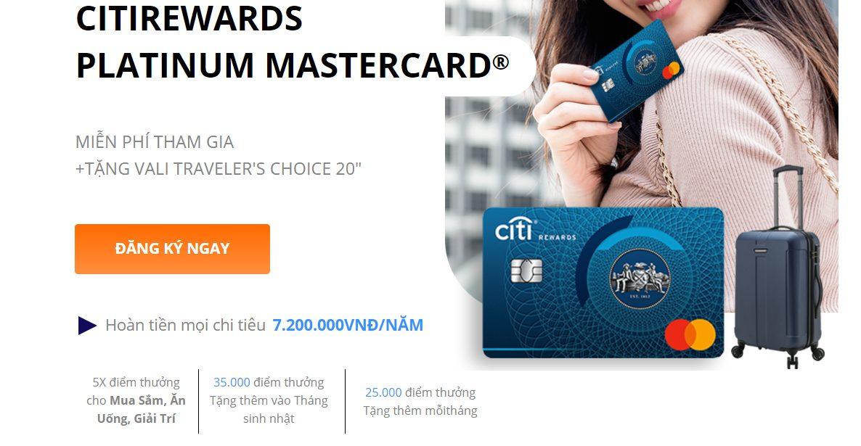 Thẻ tín dụng Citibank tặng VALI cao cấp