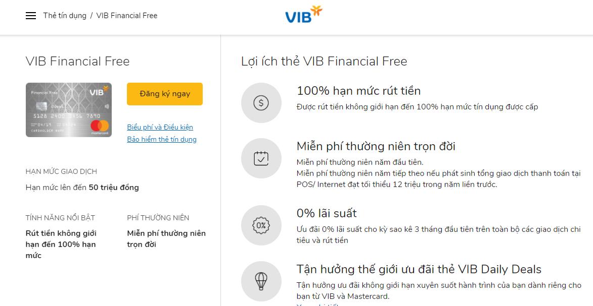 Mở thẻ tín dụng ngân hàng VIB