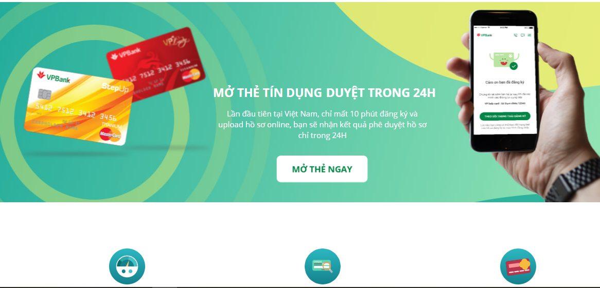 Mở thẻ tín dụng online VPBANK nhận thẻ sau 48h